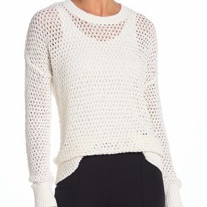 Theory Open Weave Drop Shoulder Ivory Sweater M